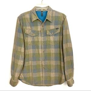 RVCA Pearl Snap Corduroy Long Sleeve Shirt Mens M